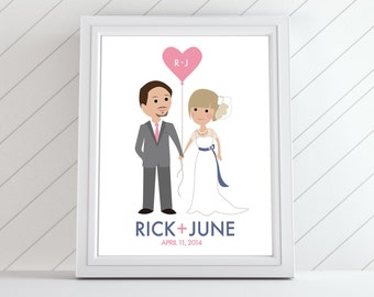 Wedding Cartoon Couples Bride and Groom Caricatures Custom Personalized Cute Gift for Valentine's Day, Wedding, Shower, or Paper Anniversary