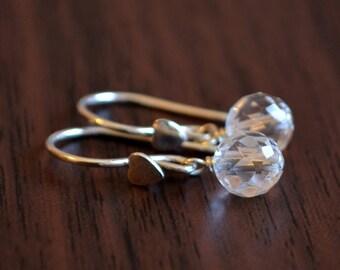 Rock Crystal Quartz Earrings, Sterling Silver Earwires, Gemstone Jewelry, April Birthstone, Heart Ear Hooks, Dangle Earrings for Girls
