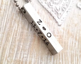 mens necklace-bar necklace-dad necklace- gift for boyfriend-personalized mens necklace-fathers day gift-gift for guys-mens jewelry-
