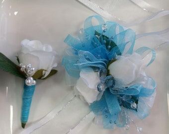 Superb Light Blue Wrist Corsage And Matching Boutonniere Prom Set Artificial  Flowers Ready To Ship Amazing Design