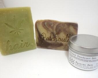 Patchouli Bath Set includes Patchouli soap, Patchouli Shampoo bar, Patchouli Deodorant