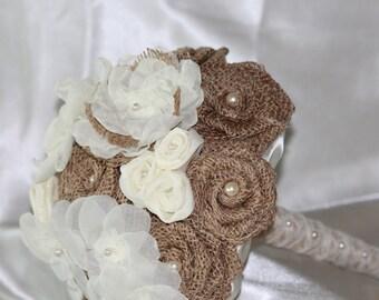 Wedding Bouquet Burlap - Burlap and Creme Rustic Fabric Flower Bouquet - Burlap Wedding - Fabric Bouquet - Rustic Wedding