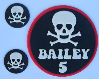 13 x edible PIRATE THEME PERSONALISED kit name age skull plaque cake cupcake topper jake neverland wedding birthday