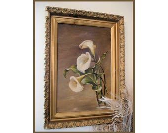 Antique Original Framed Oil Painting Cala Lilies Lily
