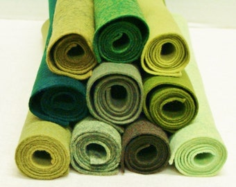 "Green Nature 10 Color Pack Merino Wool Felt Blend Fabric Sheets 9"" x 12"""