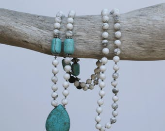 Mala, Howlite and Lava 108 bead necklace