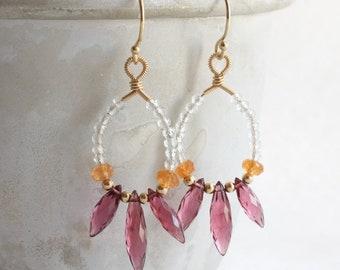 Chandelier hoop earrings with rhodolite & mandarin garnet and aquamarine, Gold wire wrapped earrings, Gemstone dangle earrings, Boho jewelry