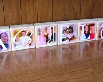 Mother's Day gift for ABUELA- Photo Blocks- set of 6 Letter Blocks- personalized photo gift