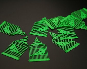 """8 charms pendants """"bird cage"""" metal painted (ref:3094)."""