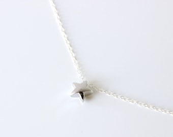 Silver star necklace Five pointed star necklace, puffy star necklace Silver Lucky star necklace Solid star necklace Layering Star Necklace