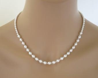 Dainty pearl necklace, Bridesmaid necklace, Swarovski crystal and pearl wedding necklace, Simple bridal necklace, Classic pearl necklace