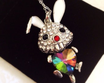 Silver Rhinestone Rabbit Necklace. Crystal. Rainbow Heart. Adorable. Cute. Whimiscal. Cute Bunny. Easter. Silver. Long Chain. Under 20.