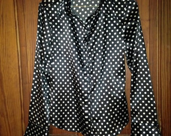 Silk Anxiety Vintage Black with White Polka Dots Long Sleeve Button up Blouse
