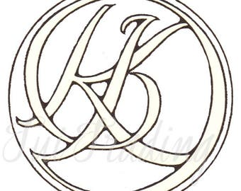 SVG Monogram KD, Digital Letters, Initials Clipart, Antique Lettering, Printable Ciphers, K D Monogram
