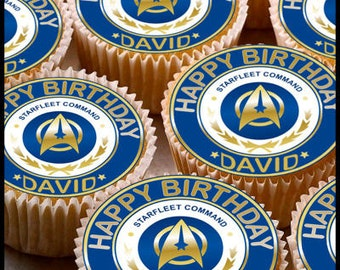 24 x Personalised Star trek Cup Cake Toppers with Any Name Happy Birthday