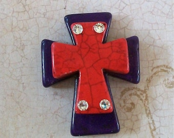 CROSS Large Stacked Purple Stone with Red Stone Cross and Bling