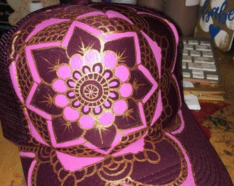 Maroon trucker with a handpainted goldy/pink full mandala