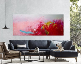Large abstract painting abstract art on canvas Pink red painting Extra large art original painting on canvas Living room Horizontal art