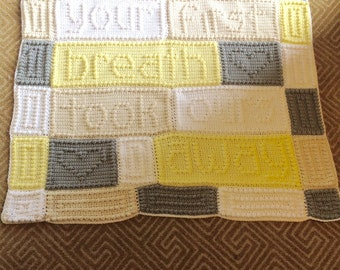 Your First Breath Took Ours Away, Baby Blanket, Ready to Ship, Gender Neutral, Baby Shower, Gender Reveal