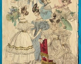 Antique 1831 bride!! Fashion print evening and wedding dresses Romantic era engraving gown veil lace