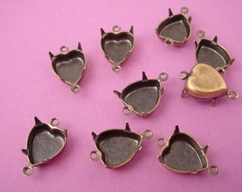 12 antique brass ox Heart Prong Settings 10mm 2 Ring close Backs connectors