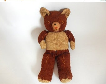 Sale - Antique Brown Teddy Bear with Squeaky Snout