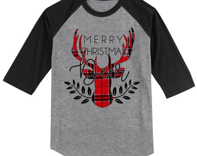 Merry Christmas Deer Plaid T Shirt 3/4 sleeve baseball style Reindeer raglan - several color and size options - Rudolph shirt
