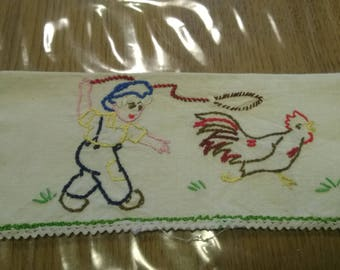 Vintage embroidered pouch for a child and a hen