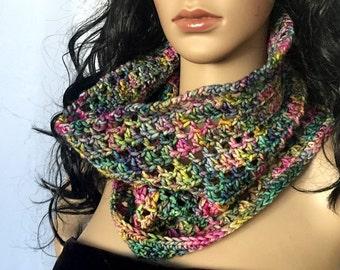 Outlander Scottish Garden Cowl Claire Scarf - Multicolored Diana Gabaldon Crocheted Neckwarmer