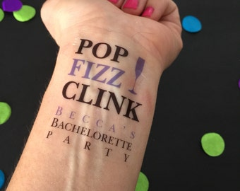 Pop Fizz Clink, Champagne Party, Champagne Bachelorette Party, Bachelorette Party Tattoos, Champagne Party, Champagne Glass, Temp Tattoos