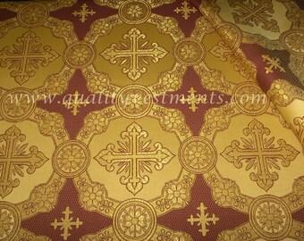 "CLEARANCE! 20% off Liturgical Church Vestment Metallic  Gold Burgundy Cross Brocade 59"" wide"