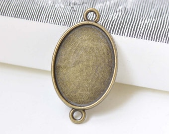 Antique Bronze Oval Pendant Tray Connector Bezel Blanks 13x18mm/18x25mm Set of 10