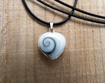 Heart Pendant Shiva Shell Silver Handmade Necklace Seashell Sterling 925 Sea Ocean Summer Love Jewelry