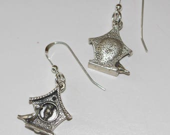 Sterling Silver BIRD HOUSE Earrings - Wildlife, Avian