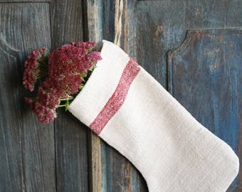 D 241: handmade, linen, antique, charming, CHRISTMAS STOCKING, vintage ,리넨, decoration;