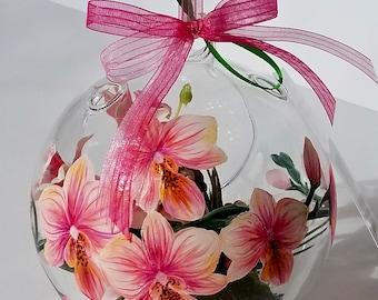 Hand Painted Glass Terrarium Ornament Orchids Princess