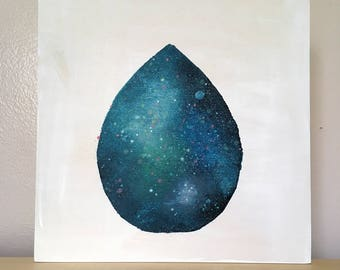 Uncharted 2.7 // Original Acrylic Painting on Wood, One of a Kind, Teardrop, Science Lovers, Space, Stars, Universe, Cosmos, Astronomy