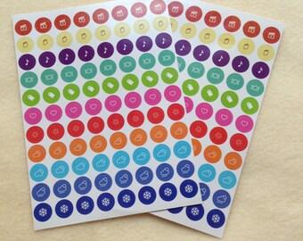 Set of 88 Round Leisure Planner sticker - perfect for Erin Condren, Kikki-K and Filofax