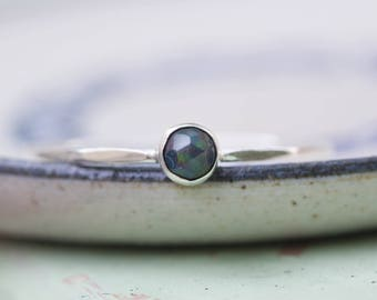 Black Opal  ring - skinny stackable ring with rose cut black opal stone, October birthstone, sterling silver, 9k gold