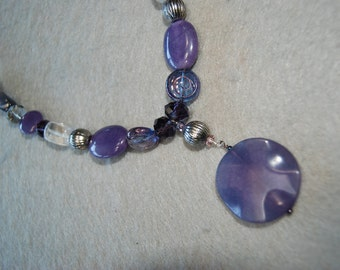 Free Shipping Crystal, purple jade, glass, and other beads necklace.