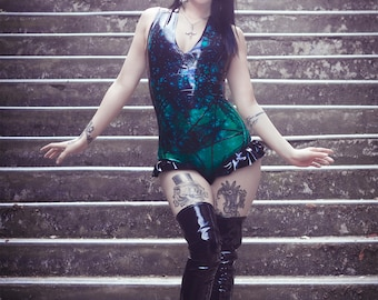 MADE TO ORDER. Baphomet patterned latex bodysuit