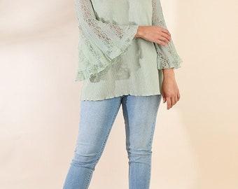 Sheer Lace Blouse ~ Plus Size