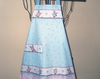 Child's Lined Bunnies Apron  Ages 3 thru 7 Adjustable  Pink Blue White