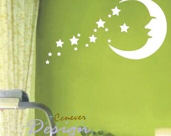 50% BIG SALE  Moon Stars Kids Nursery----art Graphic Vinyl wall decals stickers home decor