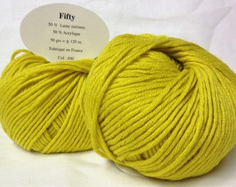 10 balls of wool 50% Merino/yellow 840 / made in FRANCE