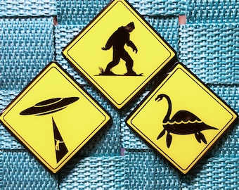 iBelieve Pin Set / Cryptozoology / Big Foot / UFO's / Loch Ness Monster / Traffic Signs / X Files / Lapel Pin / Hat Pin by Tom Ryan's Studio