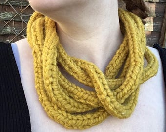 Hand knitted infinity scarf / snood /snoodle / wool necklace - mustard yellow