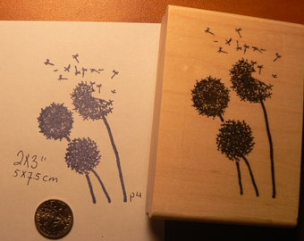 Dandelions flowers rubber stamp WM P4