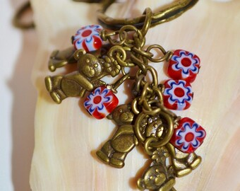 Swivel Clip Keychain Teddy Bears & Flowers, Bronze Teddy Bear Keychain