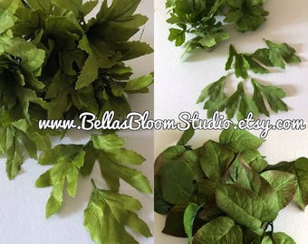 Green Silk Leaves Green Leaves  Millinery green leaves , Filler,  Wedding greenery ,Corsage Boutonnière Millinery flowers small green leaves